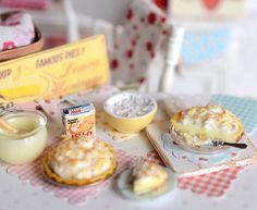 Miniature Coconut Banana Cream Pie Set by CuteinMiniature on Etsy