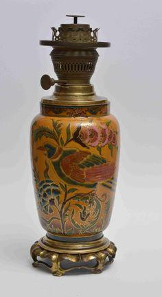 Zsolnay lámpatest, virágos ágakkal, madarakkal, 1880-as évek, Zsolnay Júlia dekortervének felhasználásával, M:37 cm, porcelánfajansz és sárgaréz öntvény