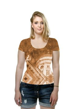 Vintage Helsinki Cathedral by A Hogan. All Over Printed Art Fashion T-Shirt by OArtTee #tees #oarttee #helsinki #helsinkicathedral #vintagelook #vintage #style #fashion #nordic #finland #churches #cathedrals #cities