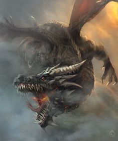 dramatic dragon flying, biting, attacking enemy / monster inspiration for DnD / Pathfinder / fantasy tabletop gaming Mythical Dragons, Dragon Illustration, Dragon Artwork, Cool Dragons, Beautiful Dragon, Dragon Pictures, Dragon Tattoo Designs, Mythological Creatures, Cool Mythical Creatures