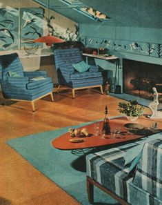 mid century blues  - We had a turquoised sectional that we could never sit on.