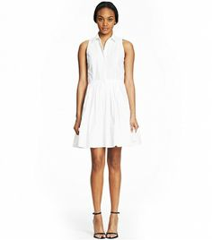 @Who What Wear - Armani Exchange Poplin Fit and Flare Dress ($128) in White  Wear this with a lightweight sweater and the collar out for a cool, layered look.
