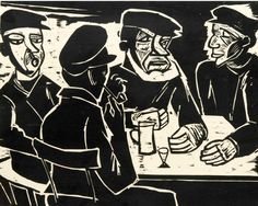 By Hermann Max Pechstein (1881-1955), Four Fishermen at the table, woodcut.
