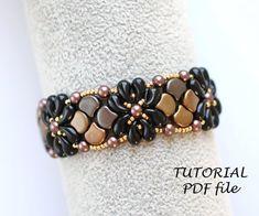 Splash Bracelet - Beading Tutorial - Paisley Rulla Superduo and Seed Beads - Beading Pattern - Beaded Bracelet Tutorial - PDF Wrap Bracelet Tutorial, Beaded Bracelets Tutorial, Beaded Bracelet Patterns, Jewelry Patterns, Beading Patterns, Beaded Jewelry, Handmade Jewelry, Diy Jewelry, Beaded Necklace