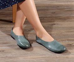 Handmade Blue Soft ShoesOxford Women Shoes Flat Shoes by HerHis