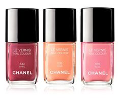 Chanel Spring 2012 Nail Color, pink, peach and burgundy