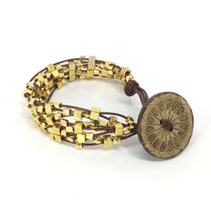 Leather Bracelet with Brass Beads with Coconut Shell Button for a Bold and Trendy Look by mgdcasualjewelry on Etsy