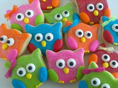 Colorful Owl Cookies 2 Dozen by acookiejar on Etsy. Almost too cute 2 eat! LOVE etsy!!