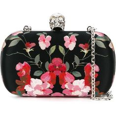 Alexander McQueen Skull Floral Box Clutch ($1,595) ❤ liked on Polyvore featuring bags, handbags, clutches, black, chain strap purse, skull box clutch, skull purse, hard clutch and alexander mcqueen handbags