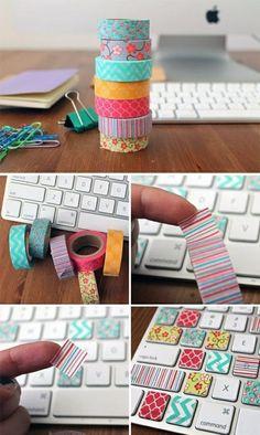 pc tastatur mit washi tape bekleben