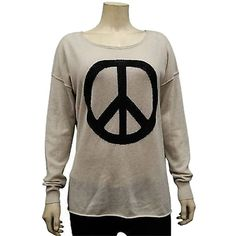 Pre-owned Autumn Cashmere Hemppepper Peace Sign Crew Neck Sweater... ($127) ❤ liked on Polyvore featuring tops, sweaters, natural, brown crew neck sweater, autumn cashmere sweaters, crew neck sweaters, long sleeve sweaters and roll top