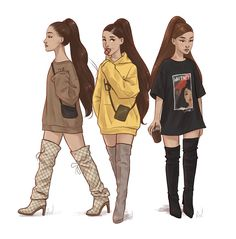 Aw how cute. Luv this sm Ariana Grande Anime, Ariana Grande Drawings, Ariana Grande Outfits, Ariana Grande Fans, Ariana Grande Wallpaper, Ariana Grande Photos, Bff Drawings, Girl Drawing Sketches, Celebrity Drawings