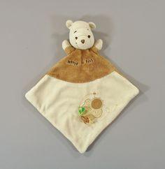 Doudou plat velours marron beige Winnie Disney Baby