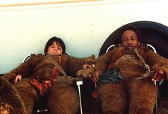"""Taking a break on the set of """"Return of the Jedi"""""""