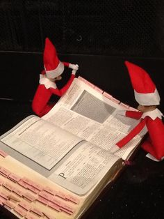 Our elves naughty and nice -  Elf on the shelf -  After doing fun and nice/naughty acts all month, we end our season with the Christmas story --