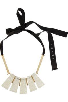 Marni|Gold-tone quartz, resin and glass necklace|NET-A-PORTER.COM