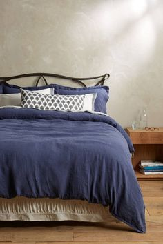 Anthropologie Soft-Washed Linen Duvet Cover QUEEN + 2 Euro Shams, Navy Blue  #Anthropologie