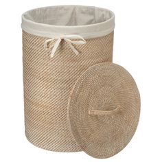 Round Rattan Laundry Hamper with Cotton Laundry Basket With Lid, Laundry Hamper, Diy Home Crafts, Diy Home Decor, Hygge Home Interiors, Cardboard Box Diy, Rattan, Rope Basket, Fabric Bins