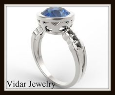 Blue Sapphire Engagement Ring White Gold