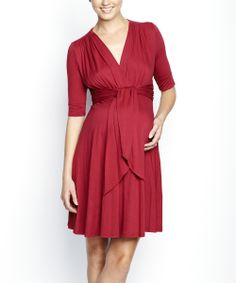 Burgundy Front Tie Maternity A-Line Dress