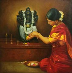 Tamil Mother offering flowers to elephant god Pillaiyar - Painting by S. Indian Artist, Art Gallery, Art Painting, India Art, Painting, Ganesha Art, Woman Painting, Art, Artwork Painting