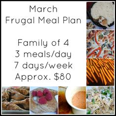 March Frugal Meal Plan.  1 family of four, 1 week, 3 meals a day, 7 days a week.  Approx. $80.