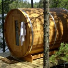Get an outdoor barrel sauna available in different sizes and with different heating options. Our outdoor barrel sauna is easy to assemble and has a double row of benches for abundant seating. Learn more about outdoor barrel saunas. Cedar Lumber, Red Cedar Wood, Western Red Cedar, Outdoor Sauna, Outdoor Decor, Outdoor Spaces, Sauna For Sale, Electric Sauna Heater, Sauna Kits