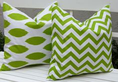 Chartreuse green Ikat and Chevron pillow covers.