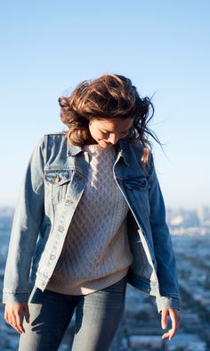 Warm up! Layer on the cozy wool and light washed denim. Nothing covers cable knit quite like a Levi's Trucker Jacket.