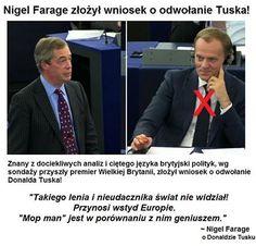 Nigel Farage złożył wniosek o odwołanie Tuska