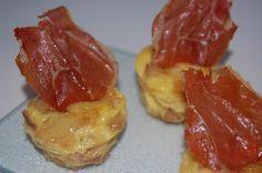 Las recetas de la nena: Mini-tortilla de patatas con aceite de trufa y crujiente de jamón