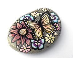 Painted rock Mysteria the mermaid one of a kind hand by GnarlyArt Painted Rocks Kids, Painted Stones, Rock Hand, Rock Flowers, Orange Butterfly, Rock Painting Ideas Easy, Butterfly Painting, Landscape Quilts, Stone Painting