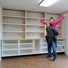 """Sarah on Instagram: """"OUR BIGGEST DIY TO DATE! 💪 • Our DIY built-ins are 90% done (still need crown molding at the top, baseboards at the bottom, and the doors…"""" Hangout Room, Crown Molding, Baseboards, Ikea Hacks, Built Ins, Kids Playing, Bookcase, Shelves, Doors"""