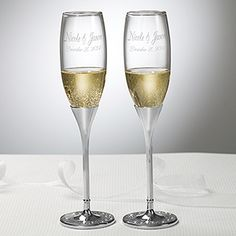 Glitter Accents Engraved Wedding Flute Set