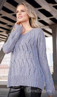 Спицами свободный ажурный пуловер с пайетками фото к описанию