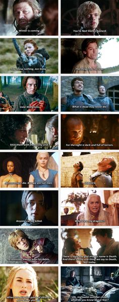 Memorable quotes #GameOfThrones Missing a few of my favs but a good list nonetheless.
