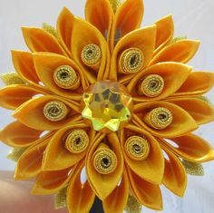 Kanzashi Flower Flower Headband.yellow girl por RibbonAndCrystals