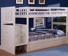 $797 discovery world furniture white Twin over twin stair stepper bunk bed 0214 kids bedroom furniture bunkbeds with stairs and kids white staircase bunk beds DWF0214