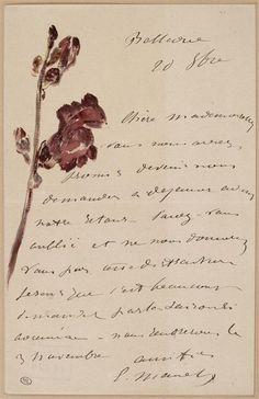 Édouard Manet letter to Isabelle Lemmonier (1880) / Musée d'Orsay, Paris
