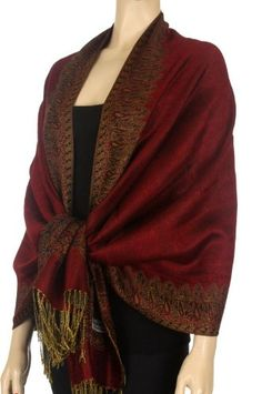 """70"""" x 28"""" Border Pattern Double Layer Woven Pashmina Shawl / Scarf / Wrap / Stole ( 20 Cool Colors )"""
