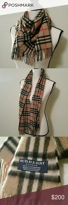 Authentic Burberry Scarf Authentic Burberry classic cashmere in check scarf, color: camel check, like new (in excellent condition). Burberry Accessories Scarves