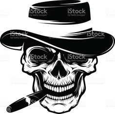 Skull with cigar and hat. Design element royalty-free stock vector art