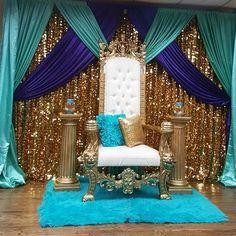 Wedding Backdrop Stage Brides Ideas in 2020 Arabian Nights Theme, Arabian Party, Aladdin Birthday Party, Aladdin Party, Jasmin Party, Royal Theme, Indian Wedding Decorations, Backdrop Decorations, Balloon Decorations