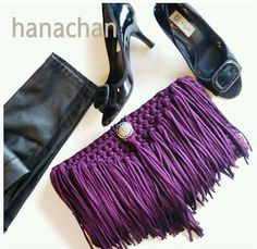 Cartera em Crochê com Franjas - /   Cartera at Crochet with Fringes -