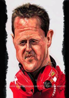 Caricatura de Michael Schumacher.