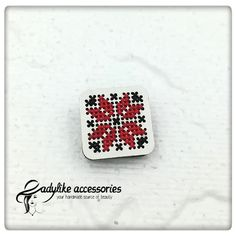 Traditional Romanian cross stitch on wooden base brooch. Crossstitch, Romania, Brooch, Base, Traditional, Wood, Handmade, Gifts, Accessories