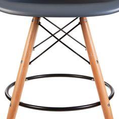Amazon.com - ModHaus Mid Century Modern Eames DAW Style Gray Counter Stool with Dowel Wood Base HIGH QUALITY Satin Finish -