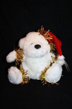 "Flomo White Plush Teddy Bear Red Christmas Stocking Cap Friends Forever 6"" New #Flomo"