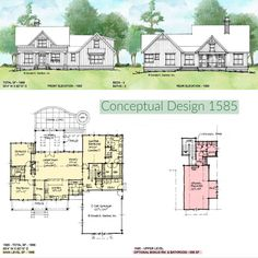 Conceptual house plan 1585 is a one-story modern farmhouse with a small floor plan. #wedesigndreams #modernfarmhouse Porch And Foyer, Small Floor Plans, Modern Farmhouse Design, One Story Homes, Craftsman Style House Plans, Conceptual Design, New House Plans, Types Of Houses, How To Plan