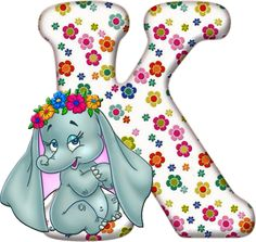 Flowered Alphabet with an Elephant. Dumbo The Elephant, Happy Elephant, Elephant Love, Letter K Design, Alfabeto Disney, Flower Alphabet, Alphabet Letters, Birthday Letters, Disney Coloring Pages